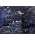 Claude Monet - Paesaggio marino con nave al chiaro di luna. Stampa su tela