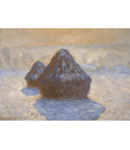Claude Monet - Haystacks, snow effect. Printing on canvas