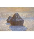 Claude Monet - Pagliai, effetto neve. Stampa su tela