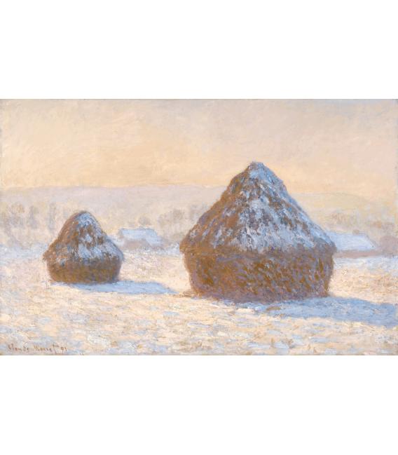Stampa su tela: Claude Monet - Pagliai, effetto neve al mattino