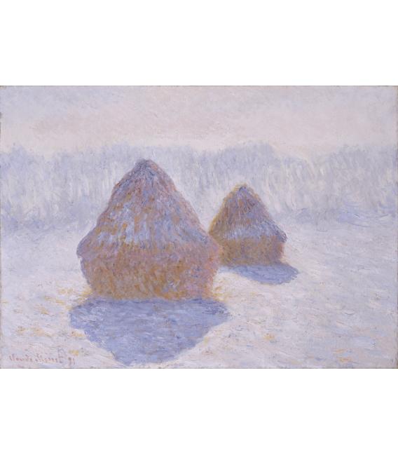 Stampa su tela: Claude Monet - Pagliai, effetto neve e sole