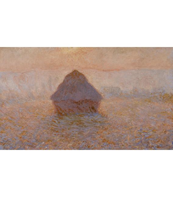 Stampa su tela: Claude Monet - Pagliaio, sole nella nebbia