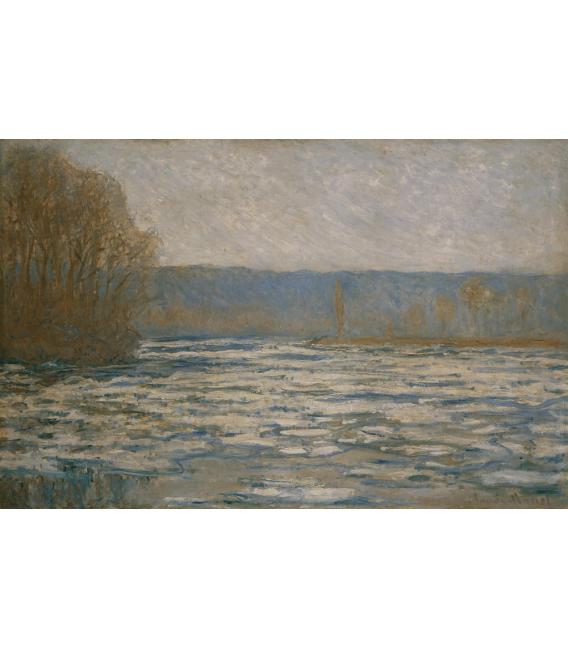 Stampa su tela: Claude Monet - Rottura del ghiaccio sulla Senna vicino Bennecourt