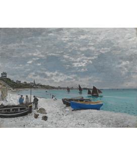 Printing on canvas: Claude Monet - Beach at Sainte-Adresse
