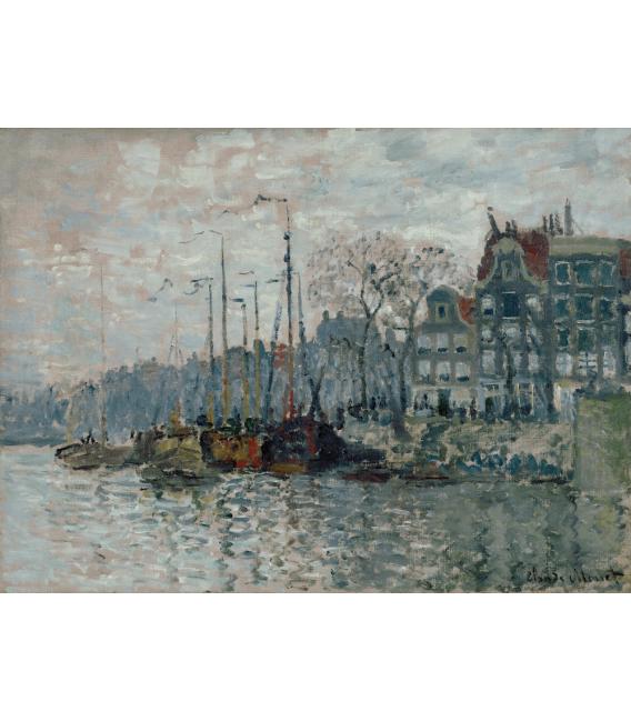 Stampa su tela: Claude Monet - Vista del Prins Hendrikkade e del Kromme Waal ad Amsterdam
