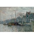 Claude Monet - Vista del Prins Hendrikkade e del Kromme Waal ad Amsterdam. Stampa su tela