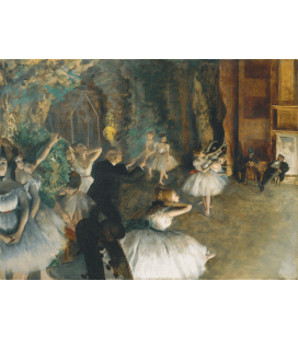 Stampa su tela: Edgar Degas - The Rehearsal of the Ballet Onstage