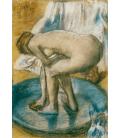 Edgar Degas - Donna che si fa il bagno in una vasca poco profonda. Stampa su tela