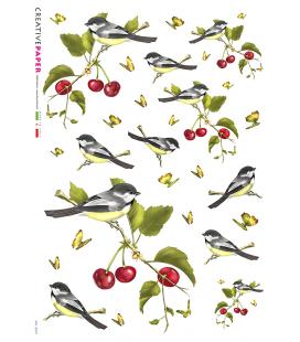 Carta di riso Decoupage: Uccelli e Ciliegie