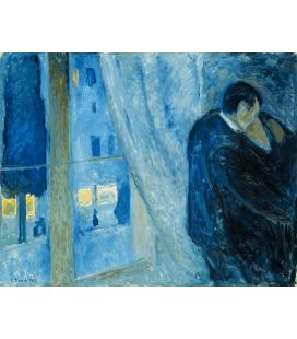 Edvard Munch - il Bacio. Stampa su tela