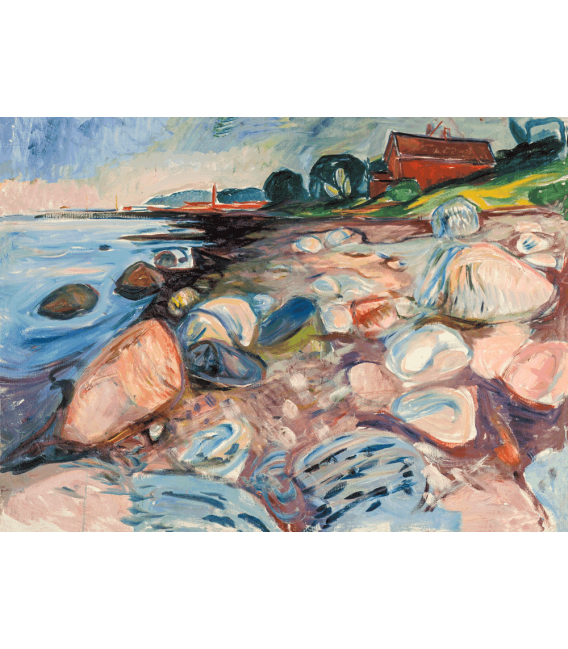 Stampa su tela: Edvard Munch - Shore with Red House