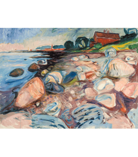 Edvard Munch - Shore with Red House. Printing on canvas