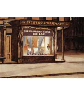 Edward Hopper - Pharmacy. Printing on canvas