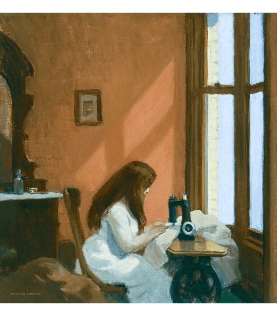 Stampa su tela: Edward Hopper - Girl at a Sewing Machine