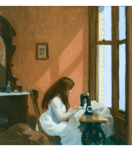 Stampa su tela: Edward Hopper - Girl at a Sewing Machine
