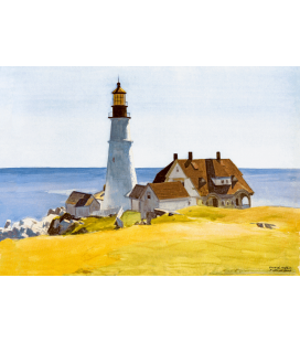 Stampa su tela: Edward Hopper - Lighthouse and Buildings -Portland Head, Cape Elizabeth, Maine