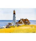 Stampa su tela: Edward Hopper - Lighthouse and Buildings -Portland Head, Cape Elizabeth, Maine