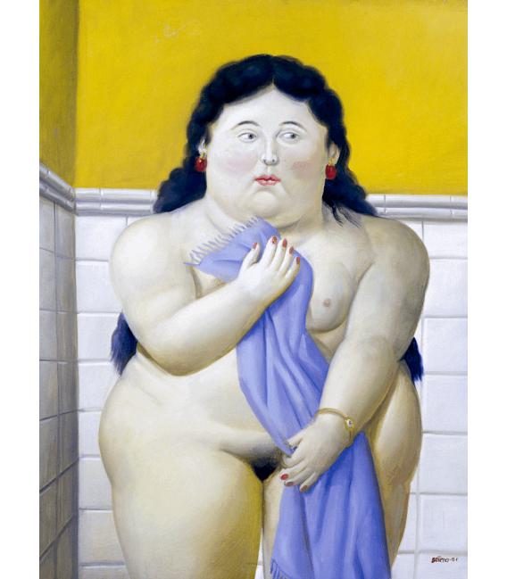 Printing on canvas: Fernando Botero - Woman in Bathroom