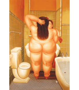 Fernando Botero - Woman in Bathroom. Printing on canvas