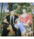Fernando Botero - Famiglia. Stampa su tela