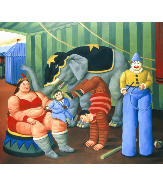 Printing on canvas: Fernando Botero - Circus People with elephant