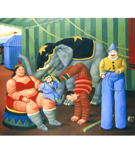 Fernando Botero - Circus People with elephant. Printing on canvas