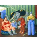 Fernando Botero - Gente del Circo con Elefante. Stampa su tela