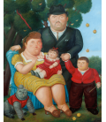 Fernando Botero - Una famiglia. Stampa su tela