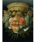 Giuseppe Arcimboldo - Testa reversibile con cesto di frutta. Stampa su tela