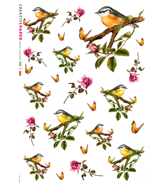 Decoupage rice paper: Birds and Roses
