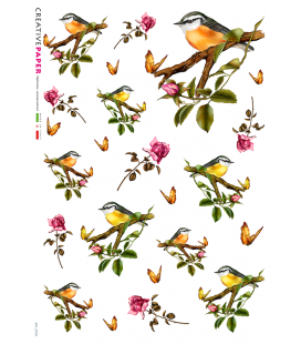 Carta di riso Decoupage: Uccelli e Rose