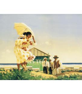 Jack Vettriano - Una Spiaggia Molto Pericolosa. Stampa su tela