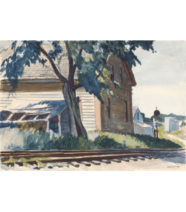 Stampa su tela: Edward Hopper - Lime Rock Railroad