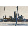 Stampa su tela: Edward Hopper - Trawler and Telegraph Pole
