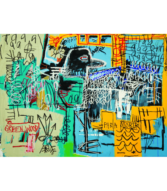 Stampa su tela: Jean Michel Basquiat - Bird On Money