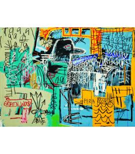 Jean Michel Basquiat - Uccello sui Soldi. Stampa su tela