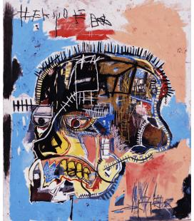 Jean Michel Basquiat - Testa senza titolo. Stampa su tela