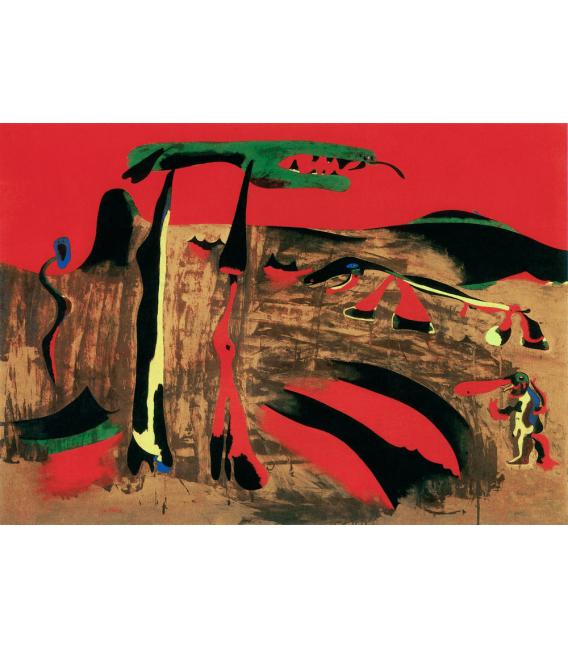 Stampa su tela: Joan Mirò - Figure davanti alla natura