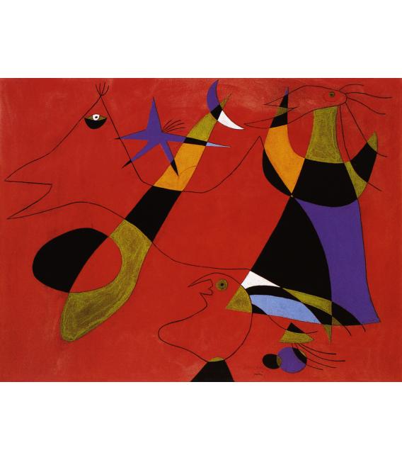 Stampa su tela: Joan Mirò - Figure su sfondo rosso