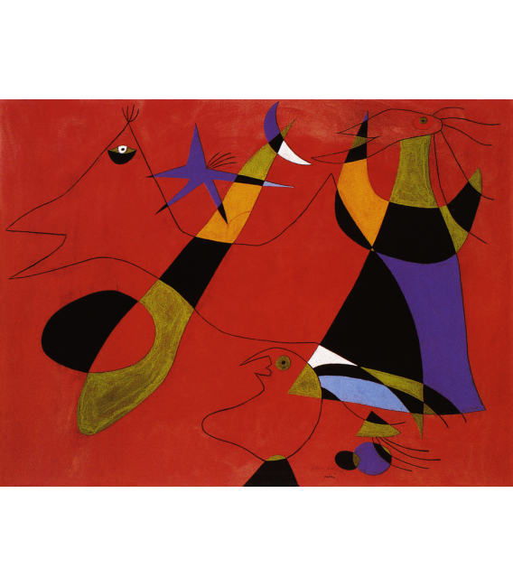 Printing on canvas: Joan Miro - Figures on red background