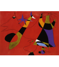 Joan Miro - Figures on red background. Printing on canvas