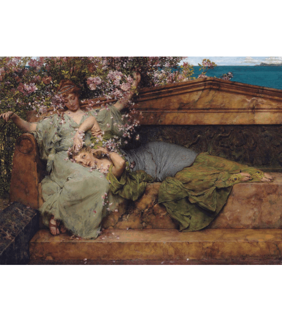 Stampa su tela: Lawrence Alma-Tadema - In a rose garden