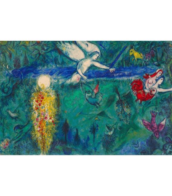 Stampa su tela: Marc Chagall - Adamo ed Eva espulsi dal paradiso