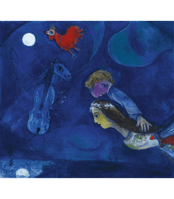 Printing on canvas: Marc Chagall - Red rooster in the night