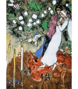 Printing on canvas: Marc Chagall - Newlyweds with Flowers
