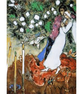 Stampa su tela: Marc Chagall - Fiori con Sposi