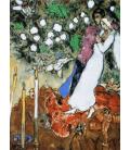 Marc Chagall - Fiori con Sposi. Stampa su tela