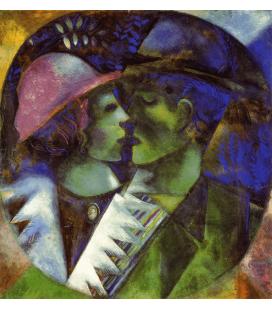 Stampa su tela: Marc Chagall - Gli innamorati in Verde