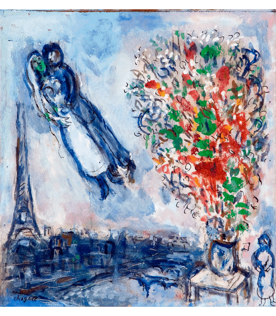 Printing on canvas: Marc Chagall - Newlyweds in Paris