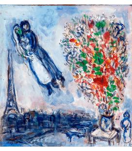 Stampa su tela: Marc Chagall - Sposi a Parigi